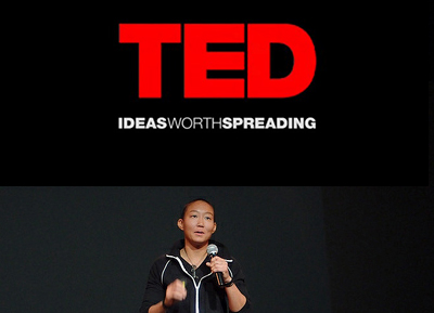 YK giving a TED Talk